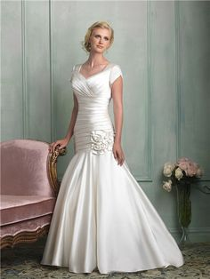Modest Mermaid Cap Sleeve Corset Back Ruched Satin Wedding Dress With Rosette