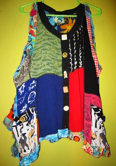 Colorful Rayon Patchwork Vest Tunic fits XL 1X 2X by monapaints, $129.00