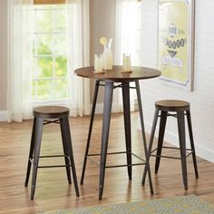 Round Pub Table Set 3 Piece Bistro Bar Stools Chairs Kitchen Dining Furniture for sale online Counter Height Table Sets, Bar Table Sets, Patio Bar Set, Table And Chair Sets, Bar Tables, Round Bar Table, Tall Table, Rustic Dining Set, Pub Dining Set