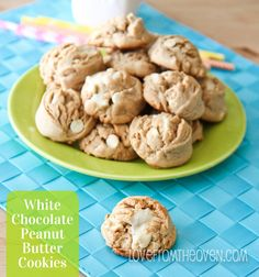 Peanut Butter White Chocolate Cookies at www.lovefromtheoven.com