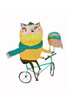 Gato y lechuza en bicicleta. Ilustración. Ashley Percival