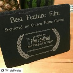 Congratulations to all of the winners at the Carmarthen Bay Film Festival last week!  Here is one of the Welsh slate trophies that we handcrafted for the event.