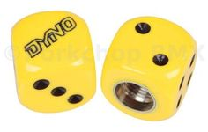 Dyno outline logo old school BMX Dice Bicycle Tire Valve Caps (pair) - YELLOW