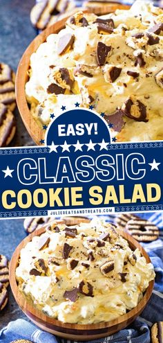Looking for the perfect dessert to bring to a party? Learn how to make Cookie Salad! This recipe is ridiculously easy. Stuffed with juicy mandarin oranges and fudge striped cookies while being light and fluffy, this kid-friendly treat is a staple at family gatherings! Easy Summer Desserts, Fun Desserts, Delicious Desserts, Dessert Recipes, Yummy Food, Cookie Salad, Meals Kids Love, Mandarin Oranges, Sweet Recipes