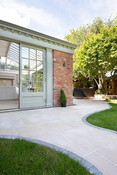 Dijon tumbled limestone pavers available in tile sizes for inside and outside. Order your FREE sample of Dijon tumbled limestone tiles today! Outdoor Patio Pavers, Patio Tiles, Outdoor Stone, Outdoor Flooring, Decking, Backyard Patio Designs, Backyard Landscaping, Limestone Pavers, Limestone House