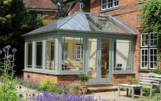 FUTURE HOUSE: Small Conservatory ~ gorgeous I would love to have this conservatory!! This is my favourite one!!! Lovely colour too!!