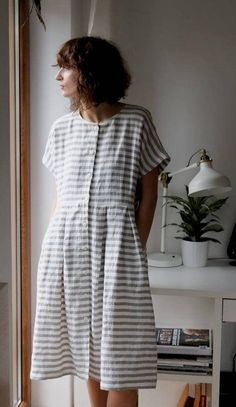 Linen Dress Striped Dress Short Sleeve Linen Dress