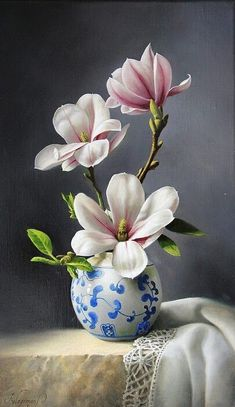 Flowers Discover Magnolia by Pieter Wagemans Magnolias Painting - Magnolia by Pieter Wagemans Oil Painting Flowers, Watercolor Flowers, Watercolor Paintings, Paint Flowers, Paintings Of Flowers, Painting Trees, Silk Flowers, Plant Drawing, Magnolia Flower