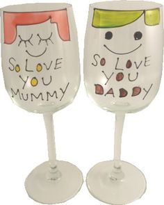 Personalized So Love You Mummy and Daddy Wine GlassesPair50 characters EXT * See this great product. #XmasKitchenDining