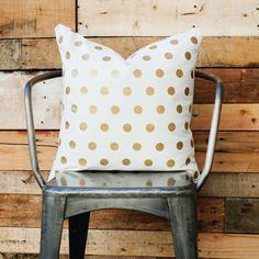 Gold Polka Dot Pillow! $36.00