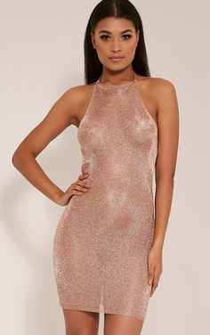 Charlay Sheer Bronze Metallic Halterneck Mini Dress