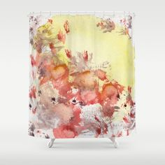 Sunny Yellow Shower curtain by StudioRS Designs . Red Blots in the Sun poppy, poppies, red poppies, poppy meadow, poppy field art