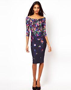 Vergrößern ASOS – Schulterfreies, figurbetontes Kleid mit digitalem Blumendruck
