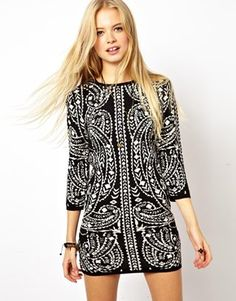 ASOS Bodycon Knit Dress In Metallic Baroque Pattern