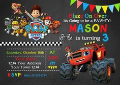 ***** Blaze and the Monster Machines and Paw Patrol Invitation *****  This listing is for the digital file for you to print yourself , size 4x6 or 5x7 inch. Personalized with your party details!  This is a Digital Product, no physical item with be shipped to you!  File is high resolution 300 dpi JPG format, ready to print.  HOW THIS WORKS:  1. Purchase your design, choose size ( 4x6 or 5x7) and pay using PayPal  2. Please write at note to seller or write me in CONVO or via email to…