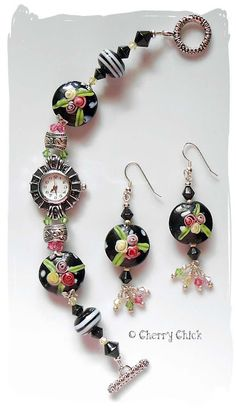 Lampwork beaded watch & coordinating earrings...