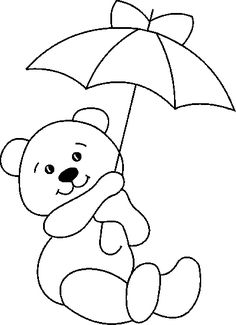 Delicate Corner: Patchcolagem Risks and Russian point BearsStained Glass Teddy Bear with Umbrella PatternCute pattern for photo frame - umbrella could be any color(s)! Applique Templates, Applique Patterns, Applique Designs, Quilt Patterns, Embroidery Designs, Bear Coloring Pages, Coloring Sheets, Coloring Books, Quilt Baby