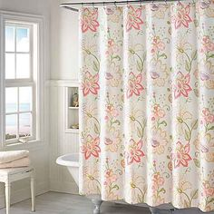 Brighten your bath décor with the beautiful blossoms that adorn the Kimberly Floral Shower Curtain. Its graceful scatter print of colorful blooms on a white ground uplifts with a fresh touch of springtime and it's machine washable for easy care. Tropical Bathroom, Teal Bathroom Accessories, Fabric Shower Curtains, Floral Shower Curtains, Blue Bathroom Decor, Curtains, Extra Long Shower Curtain, Amazing Bathrooms, Shower Curtain Track