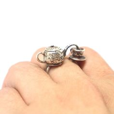 Silver Victorian Teapot and Cup Ring - Vintage Inspired Teapot Jewelry, Miniature Ring, Statement Art Deco Ring, Christmas Gift for Her Emerald Eternity Ring, Victorian Teapots, Teapots Unique, Teapots And Cups, Art Deco Ring, Christmas Gifts For Her, Vintage Rings, Round Diamonds, Jewelry Collection