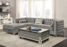 2 pc Everly quinn charlemont orchid buelow bellaire silver velvet fabric sectional sofa set with tufted backs storage chaise. Sectional measures x Grey Sectional Sofa, Modern Sectional, Fabric Sectional, Gray Sofa, Sleeper Sofas, Leather Sectional, Recliner, Silver Living Room, Elegant Living Room