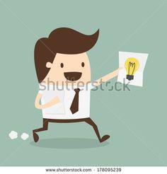businessman showing he has an idea - stock vector