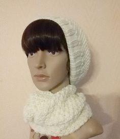 Ensemble béret et snood pour femme en laine tricoté main écru (tour de tête 50 à 55 cms) (réservé) : Chapeau, bonnet par brins-de-laine