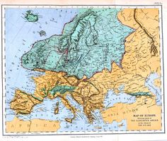 Vintage map; Map of European glaciers