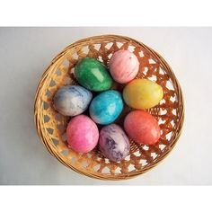 Vintage Eggs, Eight Colored Eggs, Marbled Eggs Great for Colorful... ($46) ❤ liked on Polyvore featuring home, home decor, holiday decorations, green home accessories, yellow home decor, red home accessories, red home decor and yellow home accessories