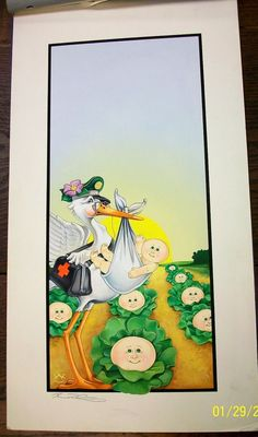 Original CPK Painting -Colonel Casey Delivers a Cabbage Patch Kid -Artist Signed