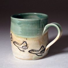 Small Porcelain Mug with Airplane Pilot by zmedceramics on Etsy