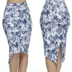 Floral skirt Size Medium floral navy skirt. Never been worn. Stretchy material. Skirts Midi