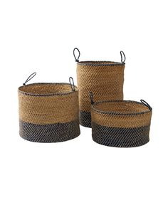 A chunky weave and knotted handles give these baskets an unstructured feel that relaxes a room instantly. We love them for everything, from towels to toys. The tallest of the set of three is perfect as a laundry hamper.