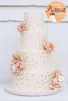 Gold Wedding Cakes This is the perfect cake! Hopefully we can get a carrot cake decorated this way! - 100 Wedding Cakes That WOW - Get wedding cake inspiration for every style and color possible here! Pretty Wedding Cakes, Elegant Wedding Cakes, Elegant Cakes, Pretty Cakes, Wedding Flowers, Wedding Colors, Floral Wedding, Purple Wedding, Rustic Wedding