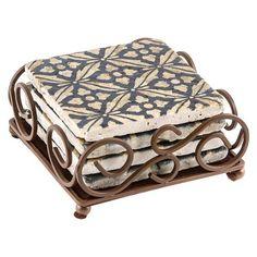 Thirstystone Travertine Coaster Set in Scroll Holder - Ebony