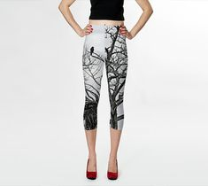 Women Capris--Black and White Tree Branch Capri Leggings--The Raven Capris--Gray off White Yoga Capris-Fashion Capris