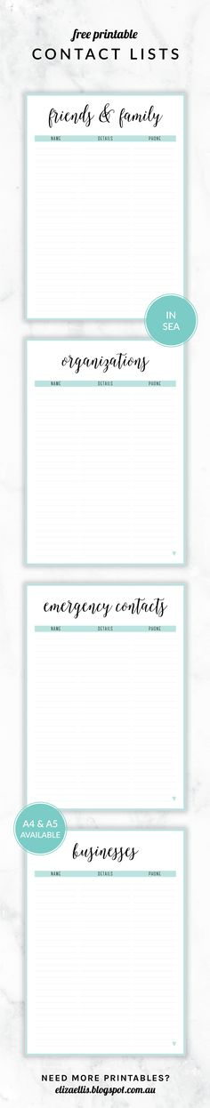 Free Printable Irma Contact Lists  Eliza Ellis Including