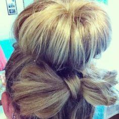 Sock bun with hair bow