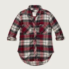 Abercrombie & Fitch Plaid Flannel Shirt ($17) ❤ liked on Polyvore featuring tops, white and red plaid, red shirt, all-over print shirts, plaid button up shirts, button up shirts and plaid button down shirt