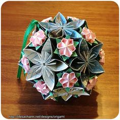 Pink-n-Blue Origami Bouquet Ball