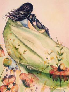 madre e hija con manta verde y flores arte imprimir