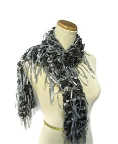 Hand Knit Ruffled Scarf  Black Gray by ArlenesBoutique on Etsy, $50.00