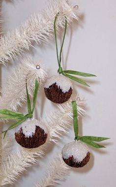 Glittered Black Walnut Ornaments
