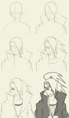 How to draw Deidara from Naruto Manga Naruto Drawings Easy, Naruto Sketch Drawing, Anime Drawings Sketches, Anime Sketch, Cartoon Drawings, Easy Drawings, Cartoon Art, Anime Naruto, Naruto Art