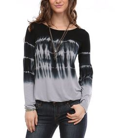 Another great find on #zulily! Navy & Charcoal Tie-Dye Blouson Top #zulilyfinds