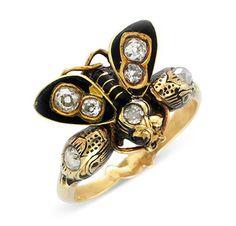 An Antique Black Enamel and Diamond Ring, circa late 19th Century.