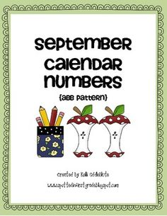 back to school themed calendar number cards for the month of September. Beginning Of School, Back To School, September Calendar, Calendar Numbers, Teaching Ideas, Classroom Ideas, Kindergarten, Cards, Fun