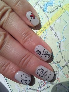 "Treasure Map   *Like my ""Pretty Pinkies"" page on Facebook for more of my handpainted designs"