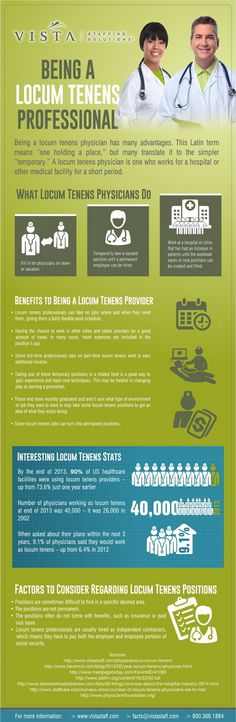 """How to Be a Locum Tenens Professional http://www.vistastaff.com/blog/2015/02/being-a-locum-tenens-professional While many physicians accept full-time jobs at hospitals and other medical facilities, some choose to work in locum tenens positions. This term translates to """"one holding a place,"""" but many think of a locum tenens job as simply a temporary position, because that's what it is."""