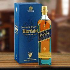 Johnnie Walker Collection Gift Set   Johnnie Walker Blue Gift Baskets   Whiskey gifts, Blue gift basket, Cigar gifts