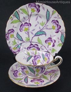 Vintage Royal Chelsea TRIO cup, saucer, tea plate - PURPLE Flowers - England: